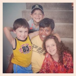 Their eldest son Trenton is in the yellow tank top; with cousins Emily and CJ and someone I don't know.
